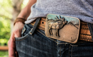 """Bugling Bull Elk"" - Bronze Belt Buckle"