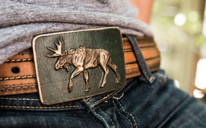 """Montana Moose"" - Bronze Belt Buckle"