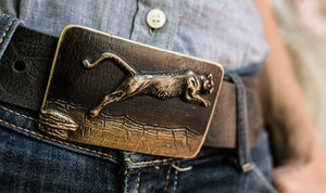 """Leaping Lion"" - Bronze Belt Buckle"
