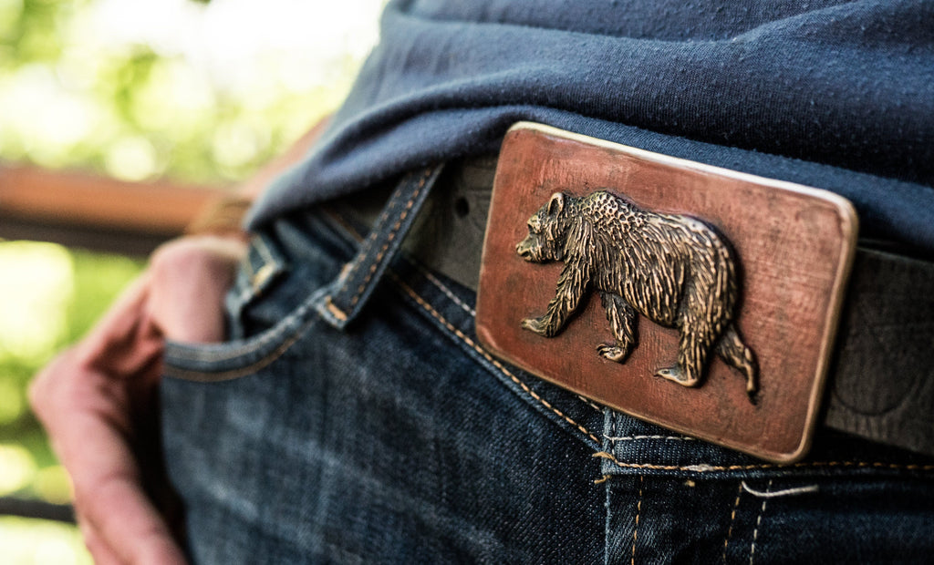 """Grizzly Bear"" - Bronze Belt Buckle"