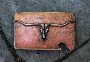 """Montana Longhorn Skull"" bronze belt buckle by Mountain Gypsy Studios"