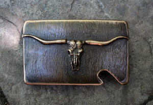 """Montana Longhorn Skull"" is part of the Montana wildlife skull bronze belt buckle collection."