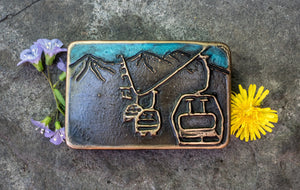 """Skier's Vista"" - Bronze Belt Buckle"