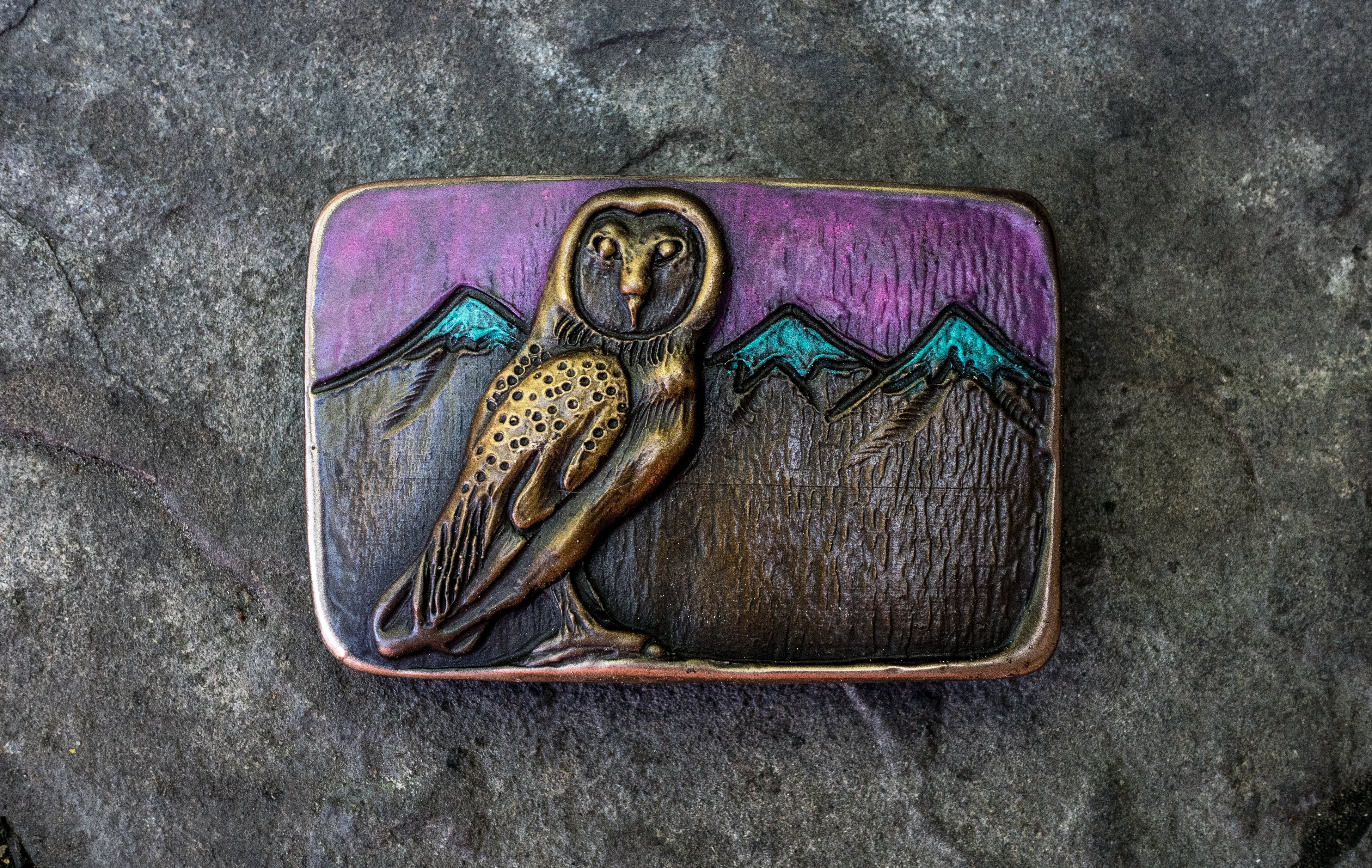"""Barn Owl"" - Bronze Belt Buckle"