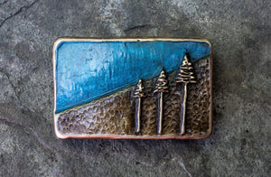 """Mountain Pines"" - Bronze Belt Buckle"