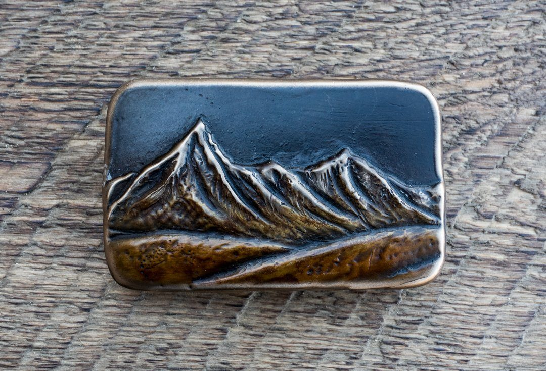 """Pilot & Index Peak"" - Bronze Belt Buckle"