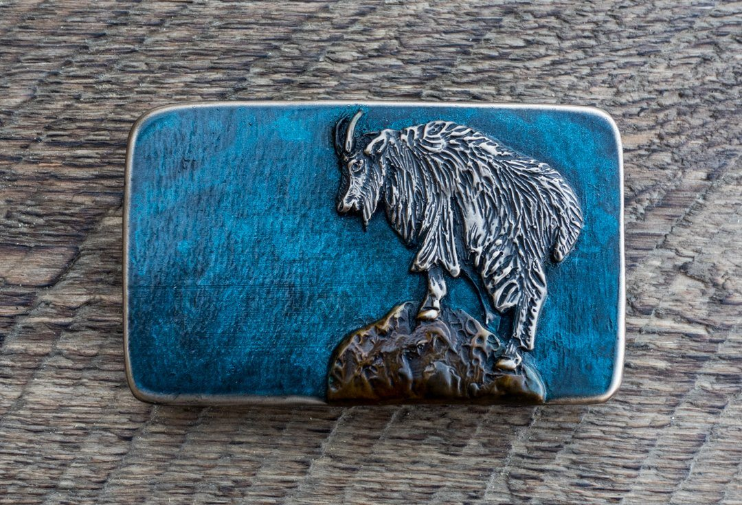 """Mountain Goat"" - Bronze Belt Buckle"