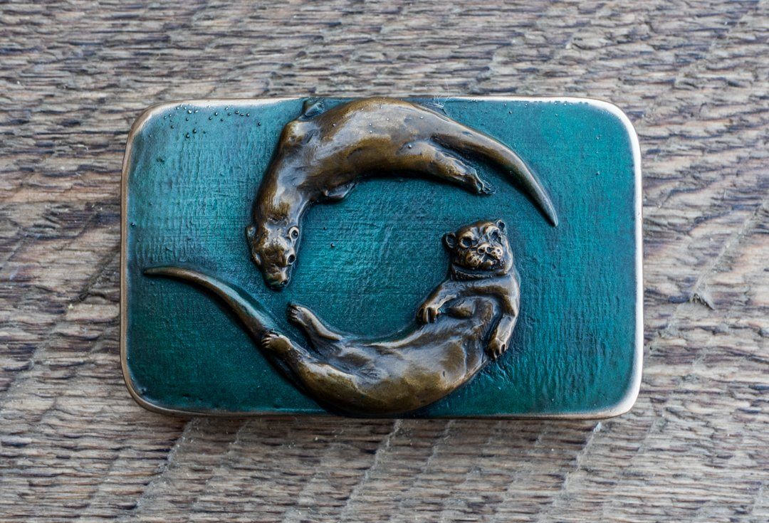 River Otters - Bronze Belt Buckle with green patina
