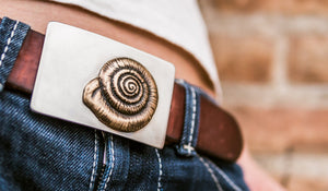 """Nautilus"" - Bronze Conch Shell Belt Buckle w/ Steel Backing"