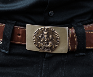"""Ganesha"" - Bronze Belt Buckle w/ Stainless Steel Backing"
