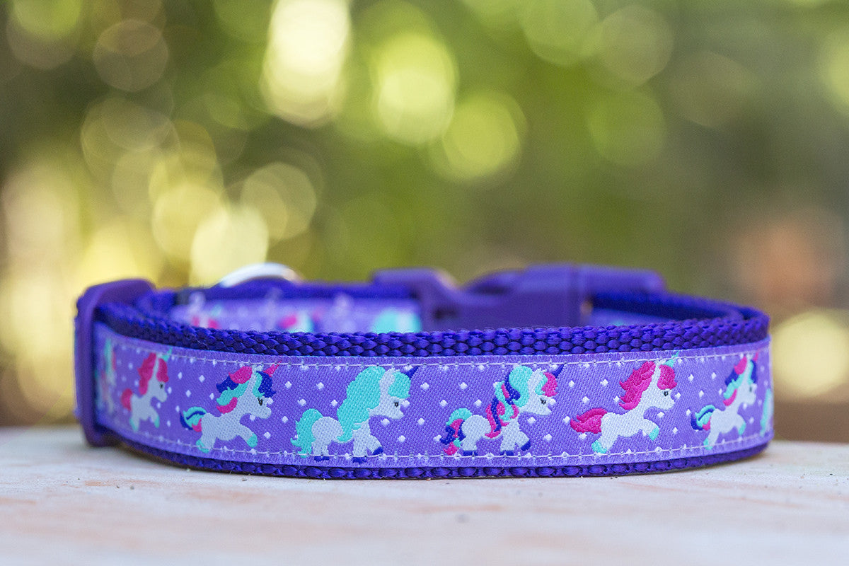 purple unicorn dog collar