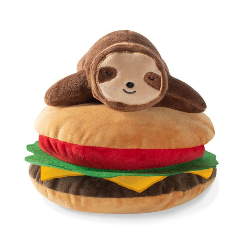 Fringe Studio Sloth On A Hamburger Plush Dog Toy-Toy-Dizzy Dog Collars