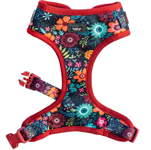 DOG HARNESS - Bright Burgundy Floral - Neck Adjustable