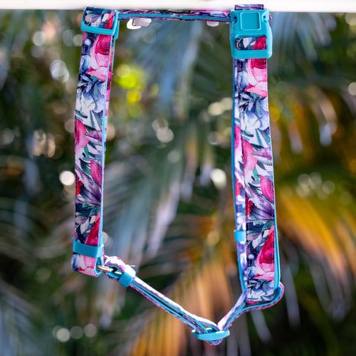 DOG HARNESS, Blossom Rose- Fully Padded H-Harness, With Front & Back Attachment - (Handmade to Order)