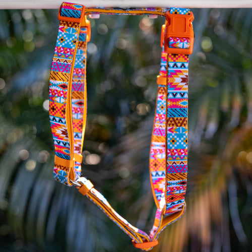 DOG HARNESS, Aztec Print- Fully Padded H-Harness, With Front & Back Attachment - (Handmade to Order)