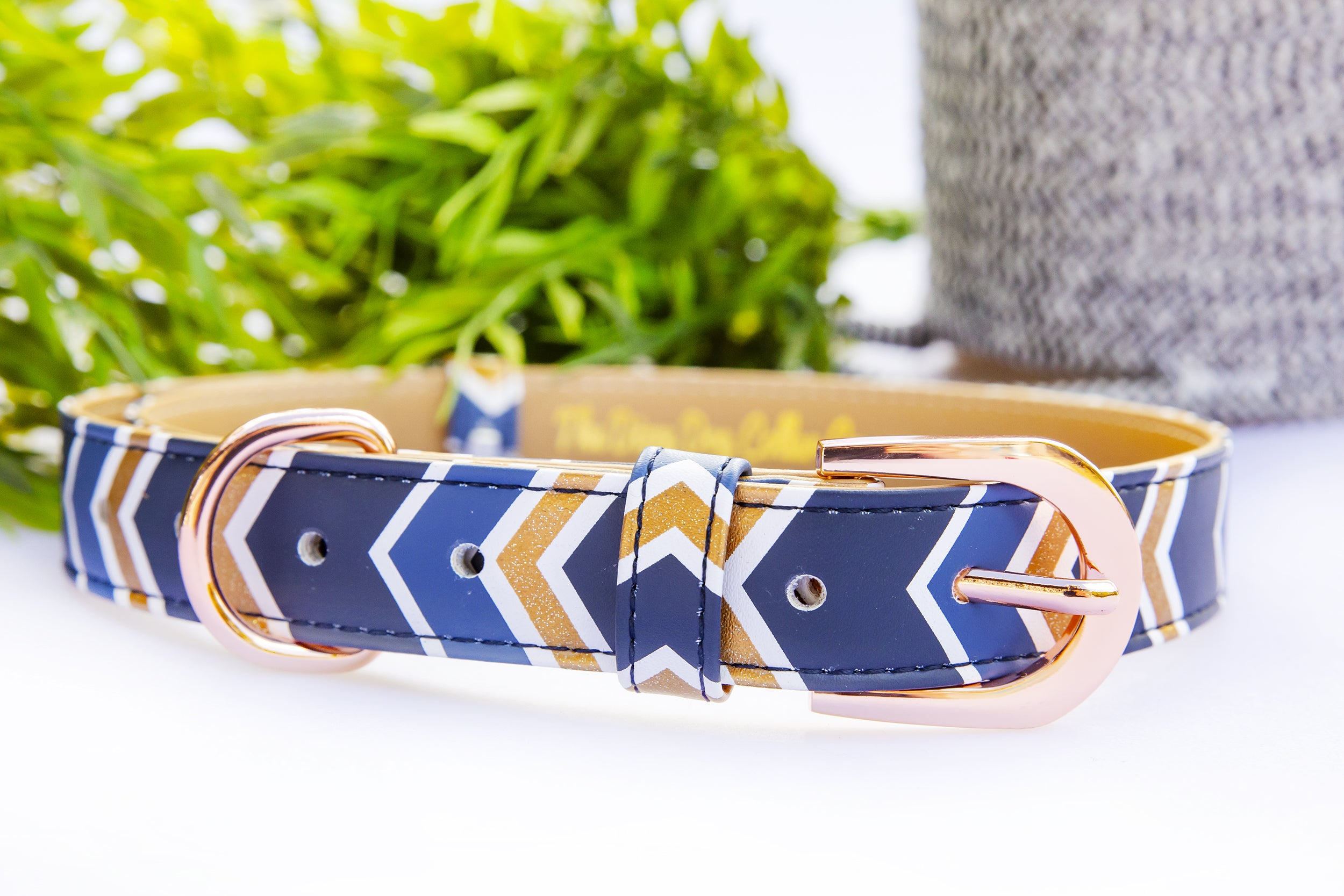 Glitter Navy Chevron: Rose Gold, Vegan Leather Dog Collar (Premade)-Dog Collar-Dizzy Dog Collars