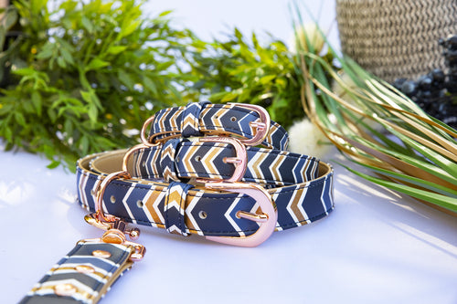 Glitter Navy Chevron: Rose Gold, Vegan Leather Dog Collar (Premade)