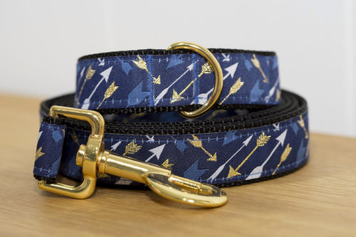 Gold & Navy Arrows Dog Leash