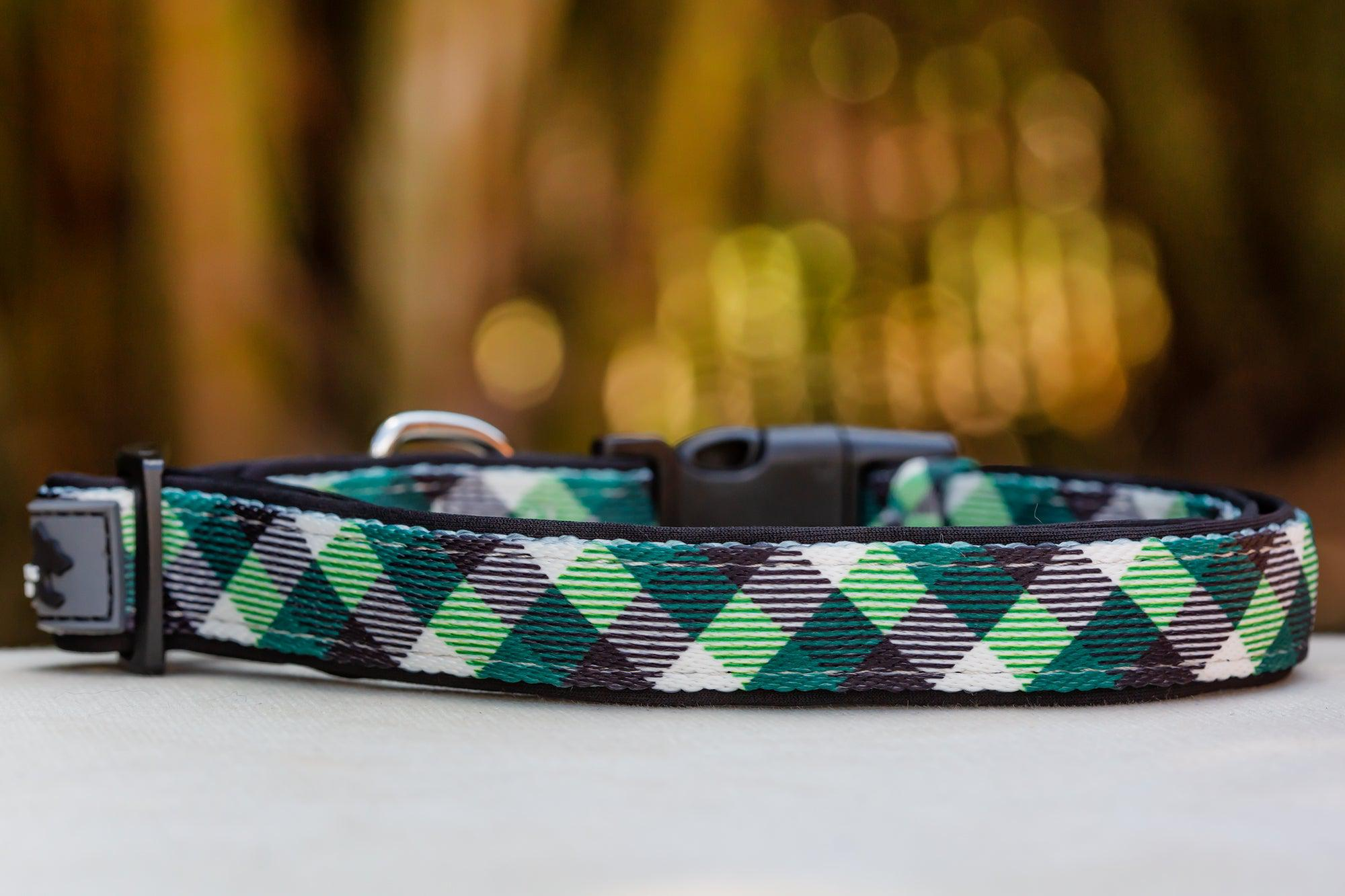 Green Plaid Dog Collar (Neoprene)-Dizzy Dog Collars-Dizzy Dog Collars