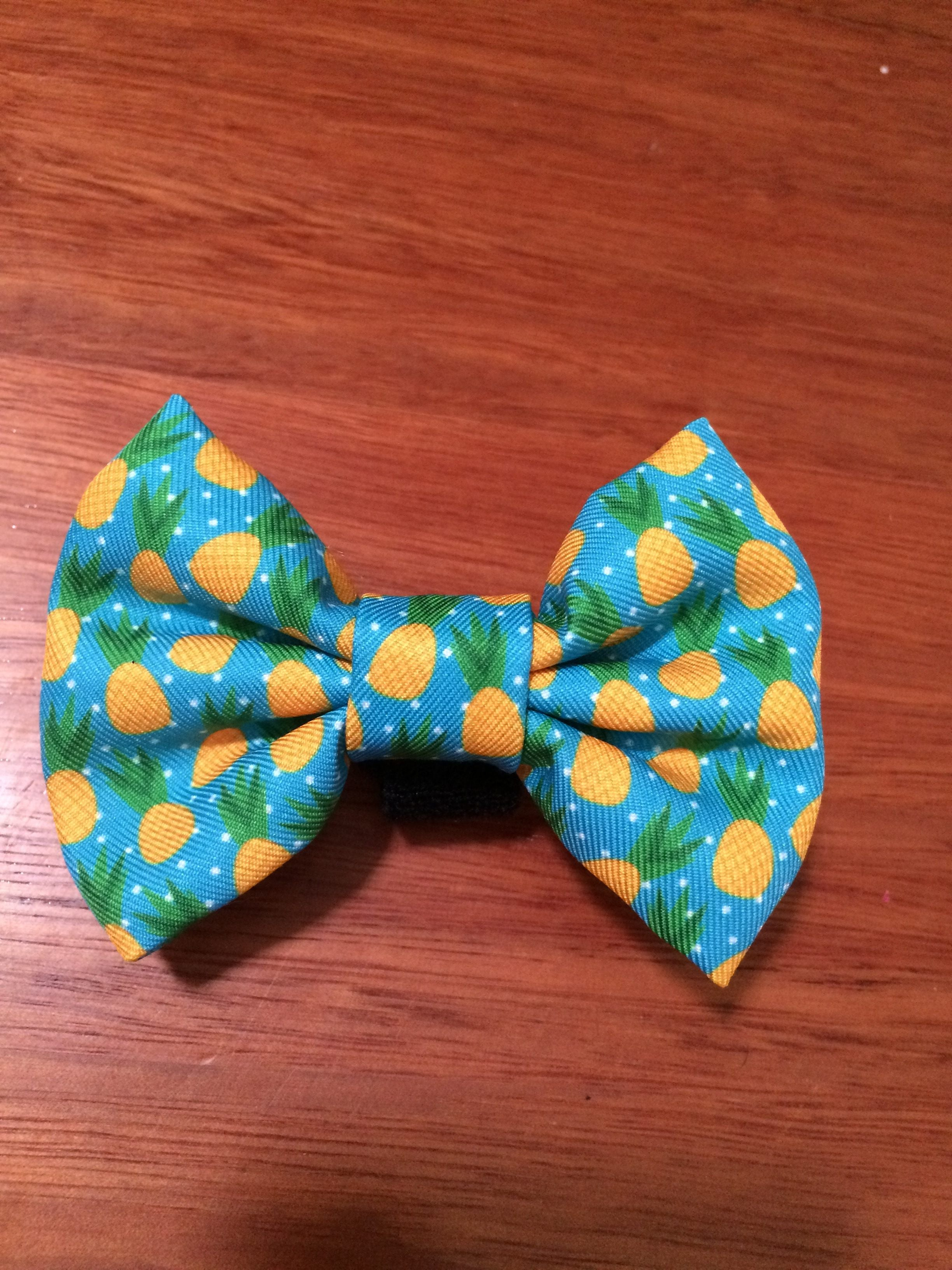 Pineapple Bow Tie - Small & Large-Dizzy Dog Collars-Large-Dizzy Dog Collars