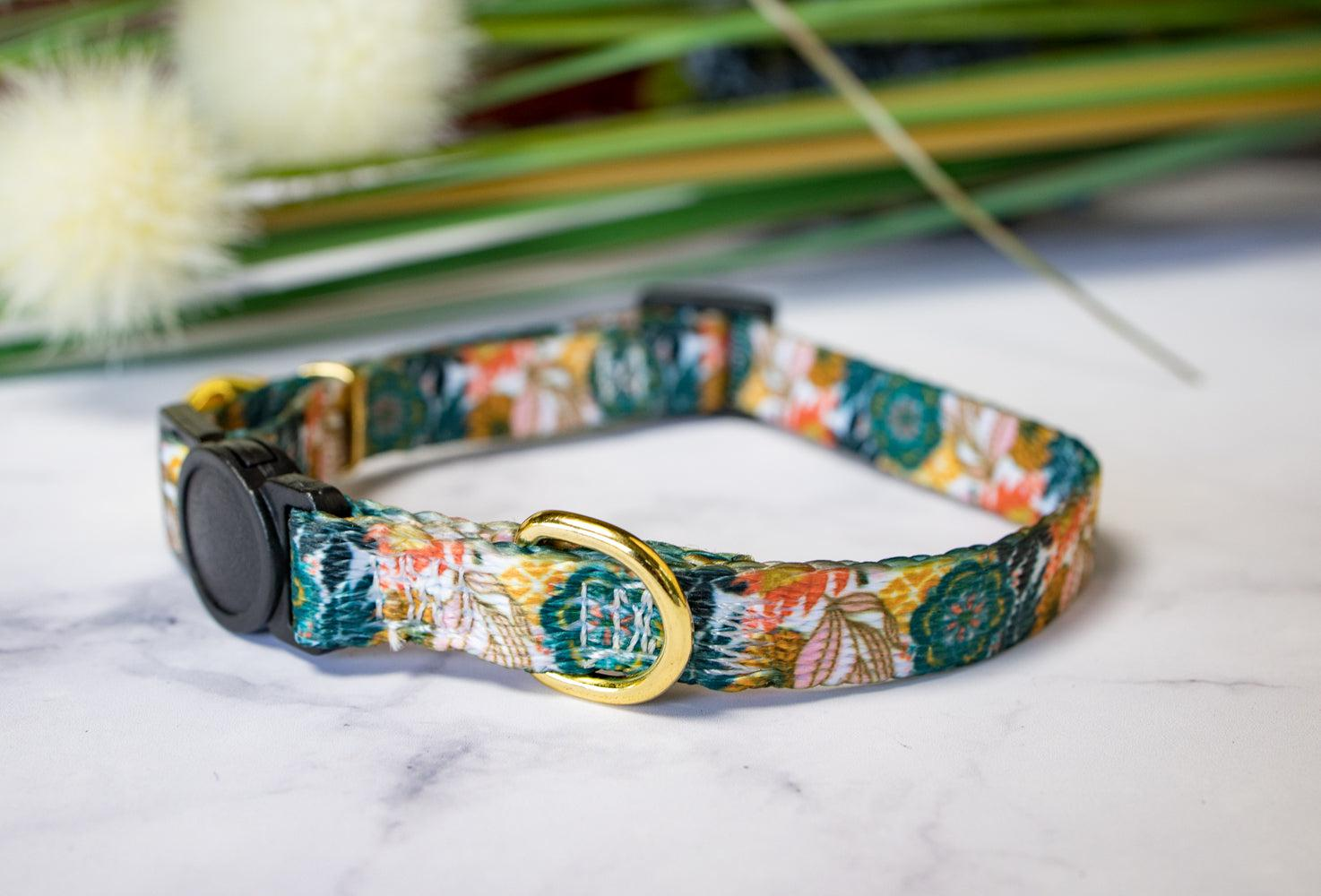 Bohemian Garden Cat Collar / Toy Breed Dog Collar / Puppy Collar-Dizzy Dog Collars