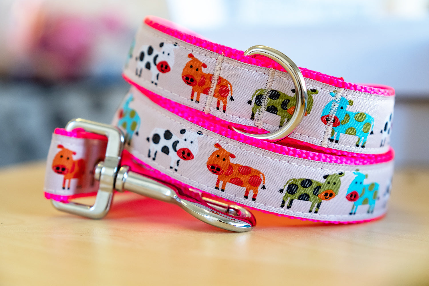 Pink Cows Dog Leash-Dizzy Dog Collars