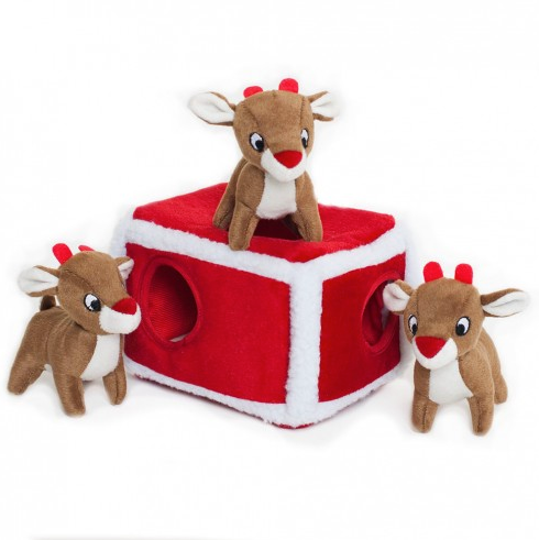 Holiday Burrow Reindeer Pen - Interactive Dog Toy-Dizzy Dog Collars-Dizzy Dog Collars