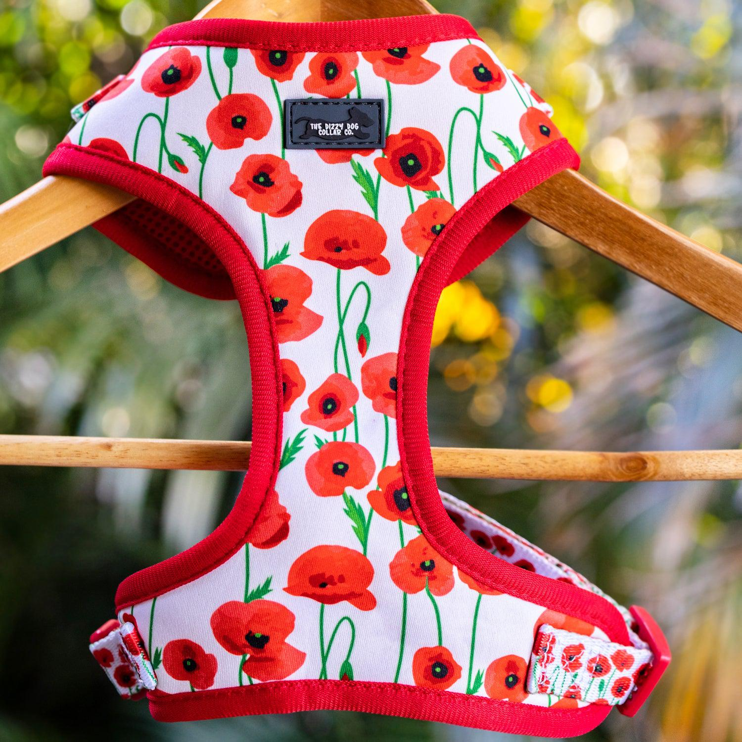 DOG HARNESS - Poppy Parade, Poppies Neck Adjustable Harness (Premade)-Harness-Dizzy Dog Collars