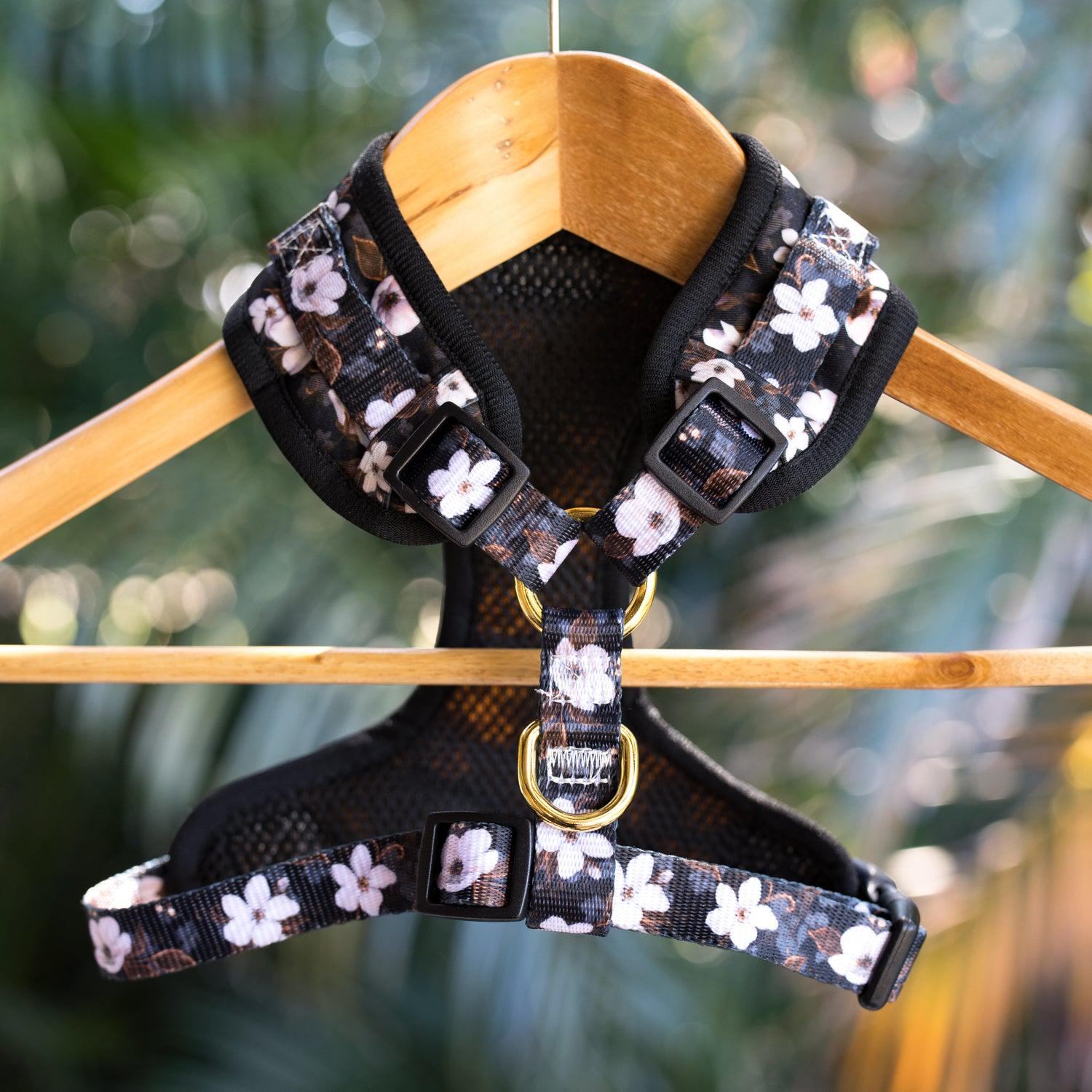 DOG HARNESS - Midnight Cherry Blossoms - Neck Adjustable Harness (Premade)-Harness-Dizzy Dog Collars