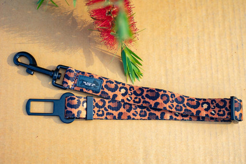 Dog Car Seatbelt / Dog Car Restraint Tether - Safari - Leopard Print (Premade)