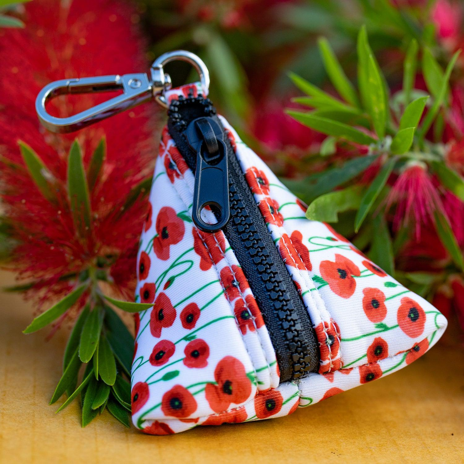 Poppies Pocket- For Poop Bags, Treat and/or Keys/Coins-Dizzy Dog Collars