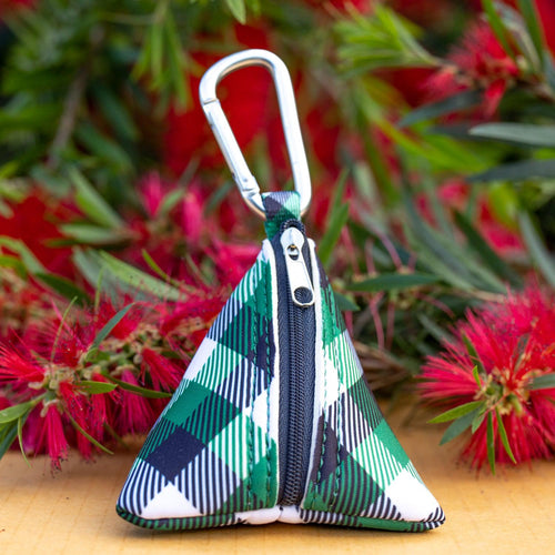Green Plaid Pocket- For Poop Bags, Treat and/or Keys/Coins
