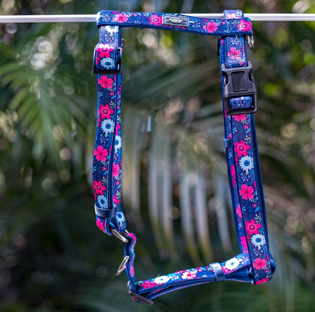 DOG HARNESS, Navy Floral- Padded H-Harness, With Front & Back Attachment-Harness-Dizzy Dog Collars