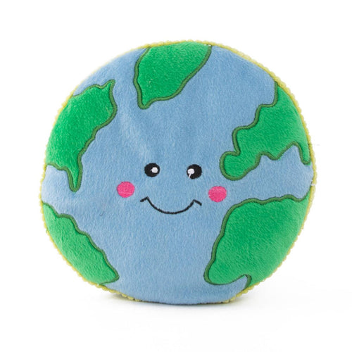 Zippy Paws Storybook Space Plush Squeaker Dog Toy - Squeakie Pattiez - Earth