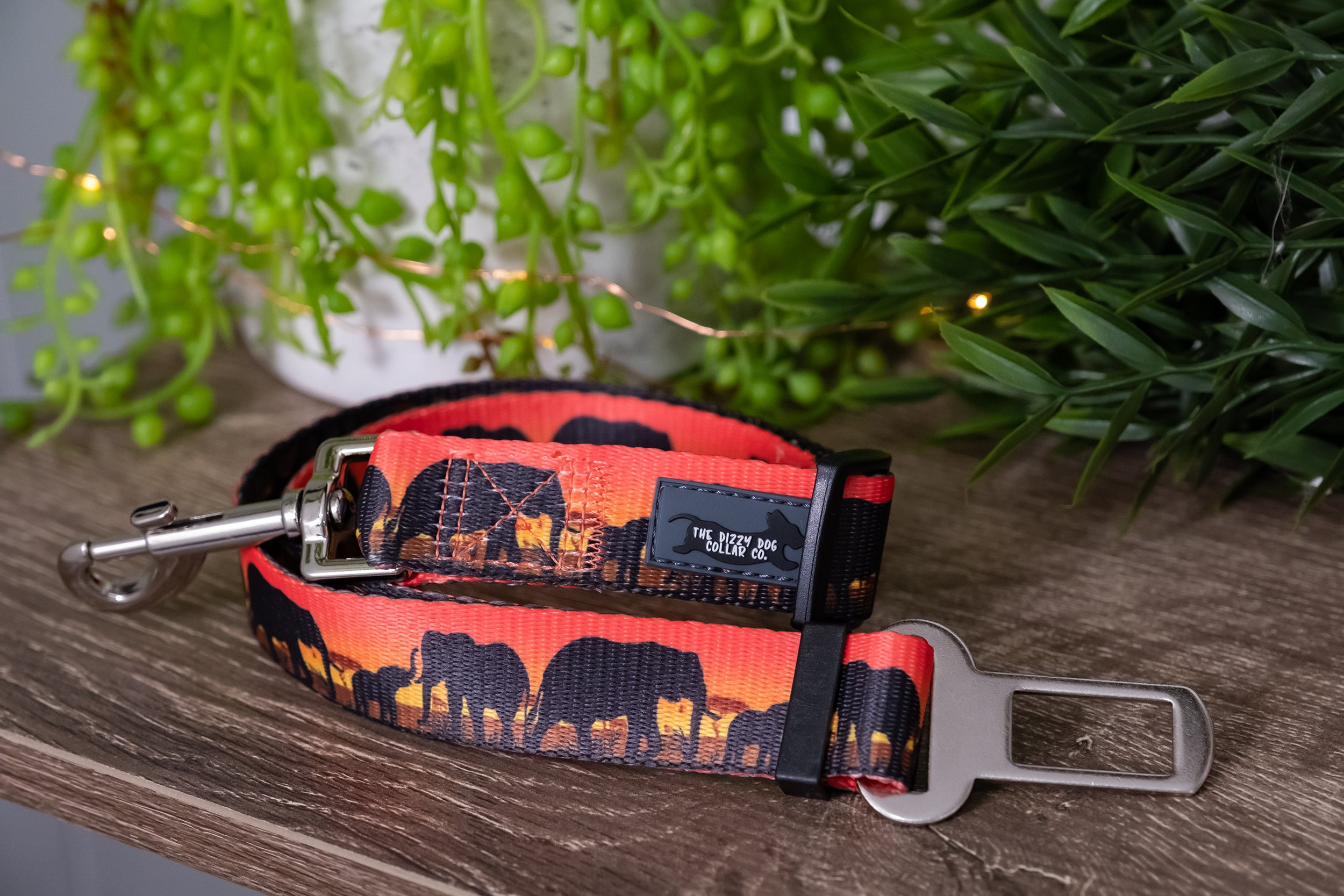 Dog Seatbelt - Sunset Elephants (Premade)-Dizzy Dog Collars