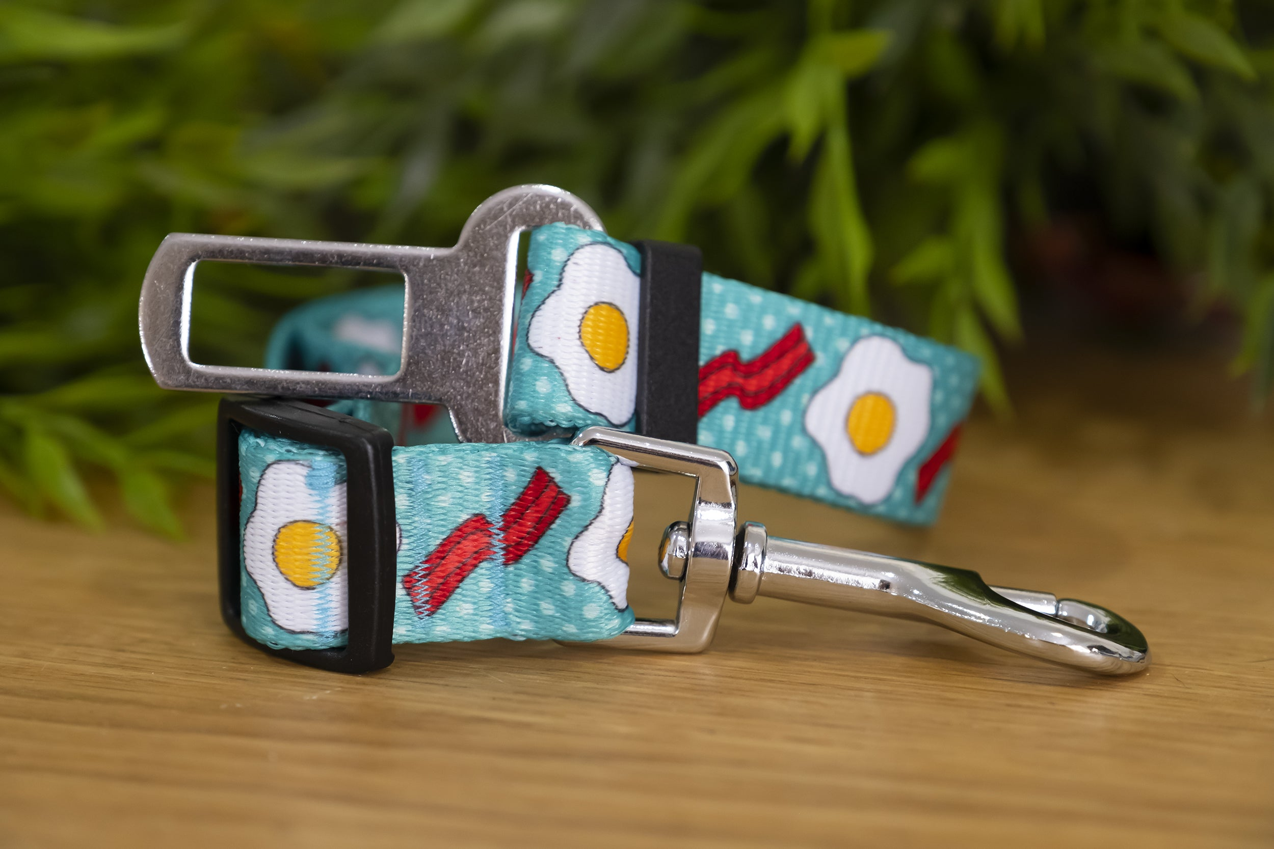 Dog Car Seatbelt / Dog Car Restraint Tether - Bacon & Eggs (Handmade to order)-Dizzy Dog Collars