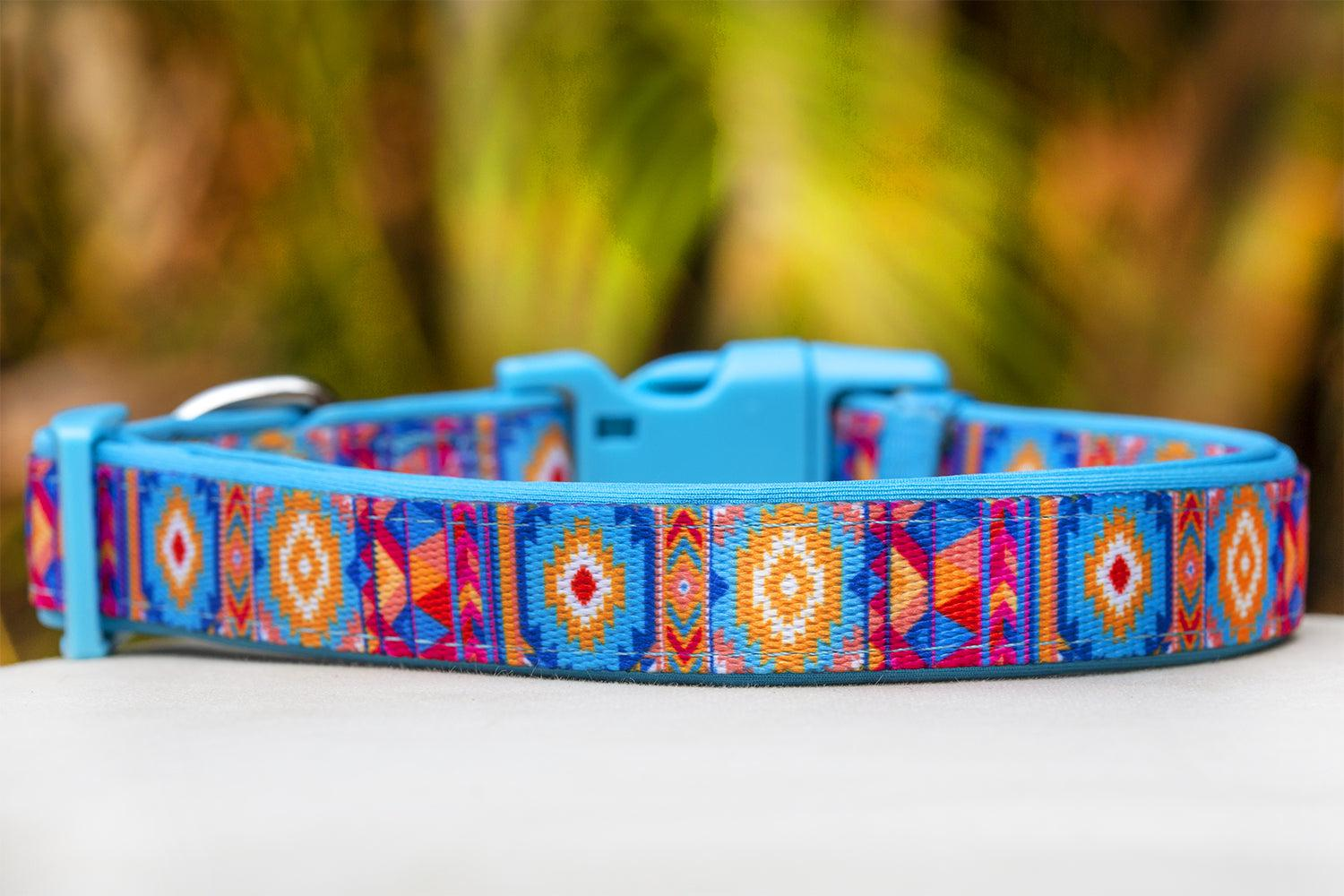 Beach Aztec Dog Collar (Premade)-Dog Collar-Dizzy Dog Collars