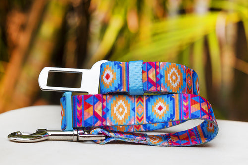 Dog Car Seatbelt / Dog Car Restraint Tether - Beach Aztec (Premade)