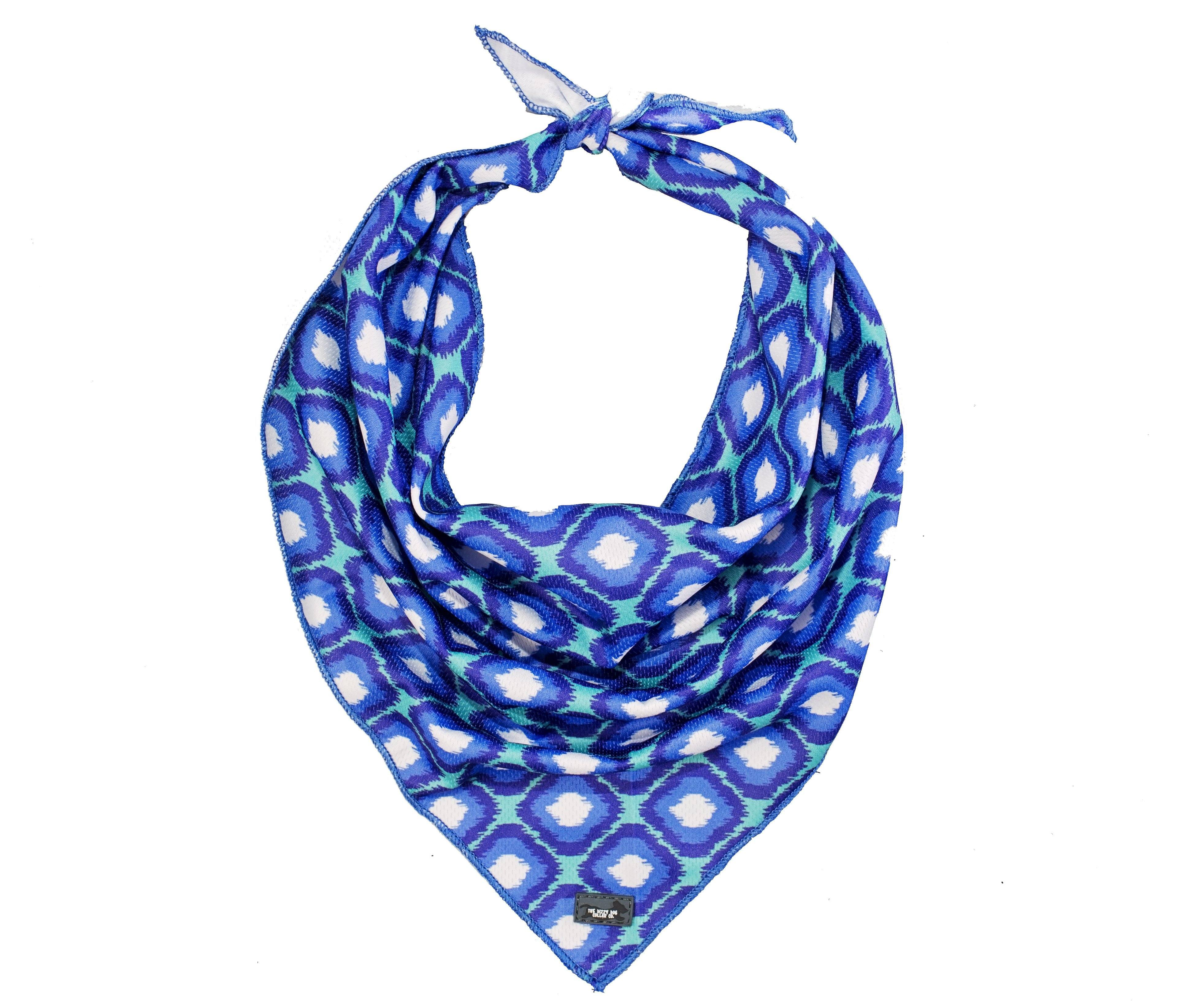 dog bandana, Australian made bandana for dog, blue ikat classic dog bandana