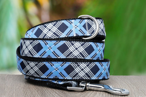Blue Plaid Dog Lead (Nylon) (Handmade to order)