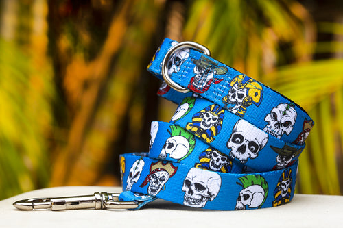 Blue Skulls Dog Leash (Premade)