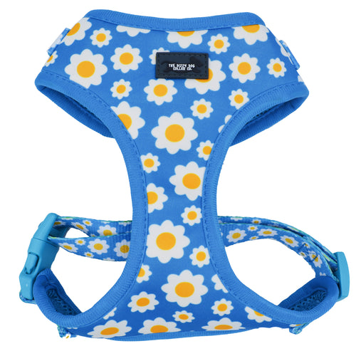 DOG HARNESS - Retro Blue Daisy - Neck Adjustable Harness