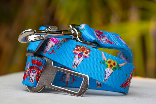 Dog Car Seatbelt / Dog Car Restraint Tether -  Boho Hippie Skulls (Premade)