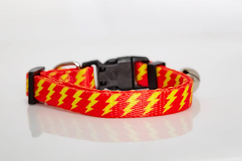 Red & Yellow Bolt Cat Collar / Toy Breed Dog Collar