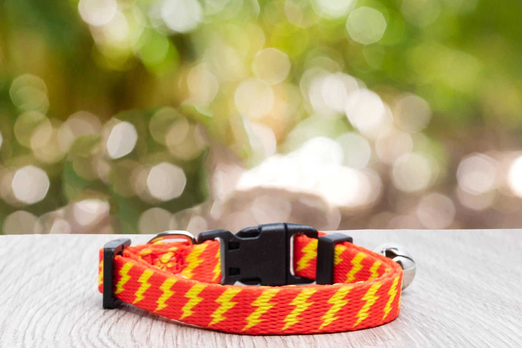 Red & Yellow Bolt Cat Collar / Toy Breed Dog Collar-Dizzy Dog Collars-Dizzy Dog Collars