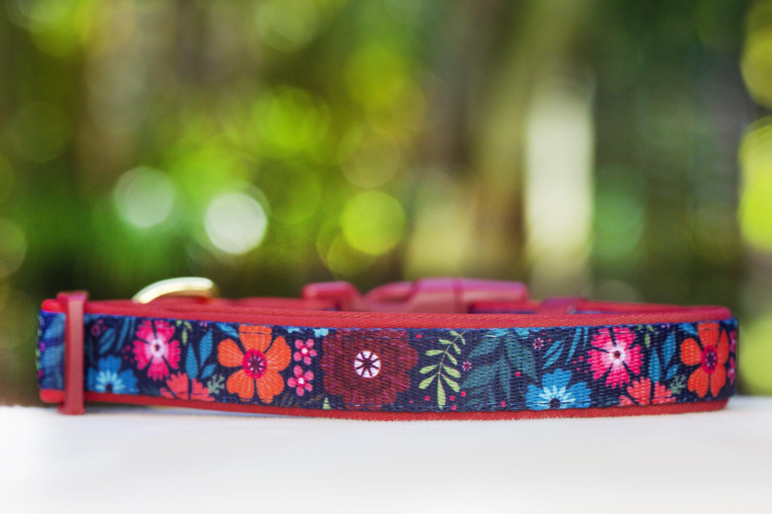 Bright Burgundy Floral Dog Collar (Premade)-Dog Collar-Dizzy Dog Collars