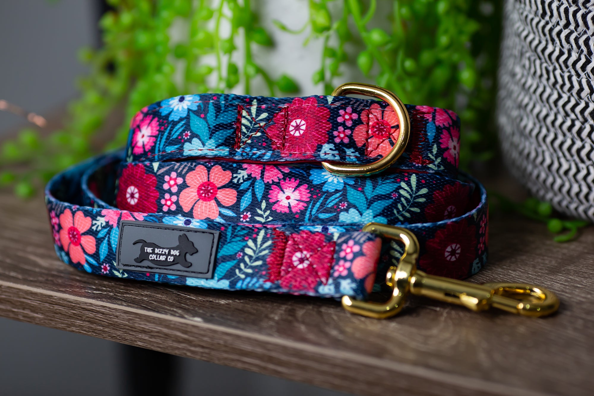 Burgundy Floral Dog Leash (Neoprene)-Dizzy Dog Collars-Dizzy Dog Collars