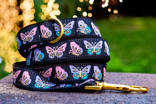 Gold Butterfly Dog Leash / Butterflies Dog Lead (Handmade to order)