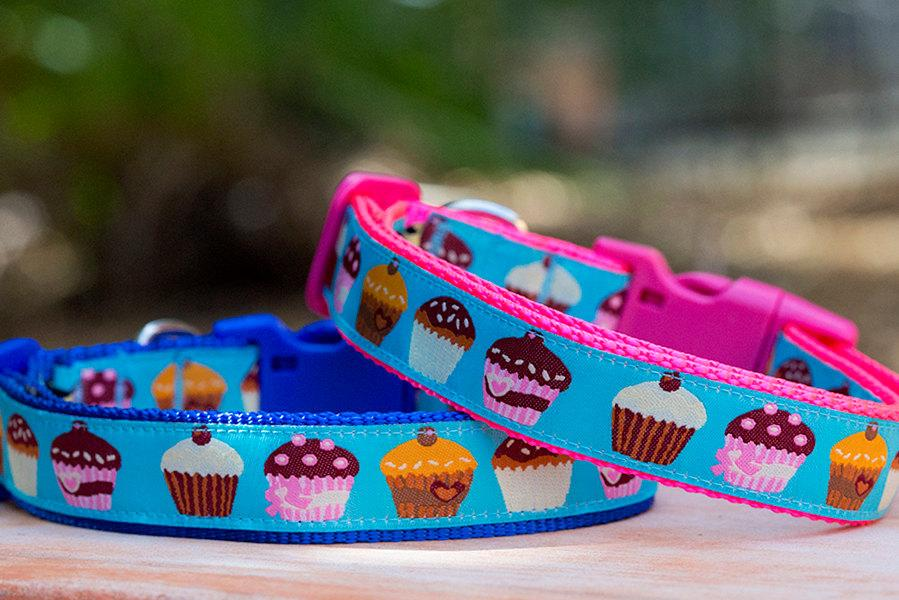 "Cupcake Dog Collar-Dizzy Dog Collars-XS 5/8"" (1.5cm) Wide-Blue-Dizzy Dog Collars"