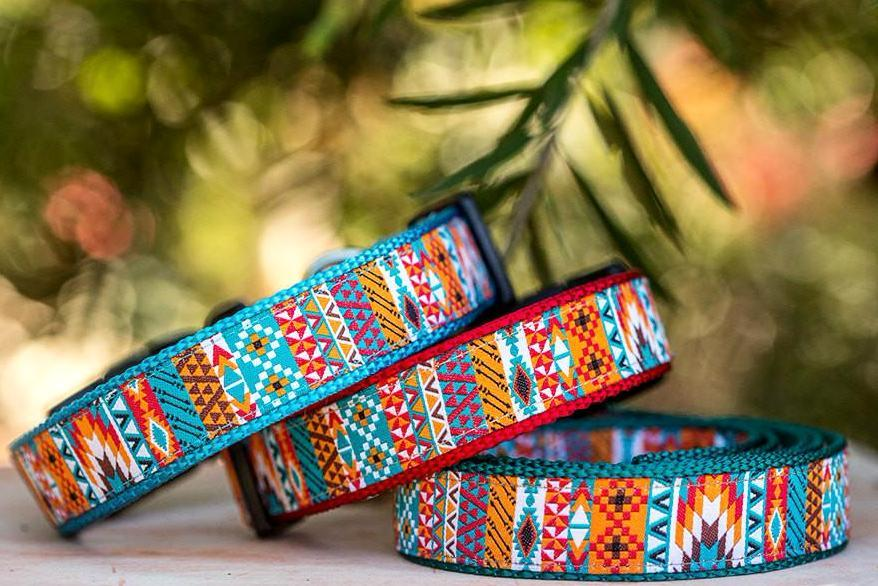 aztec dog collar, large dog collar, small dog collar, dog collar for big dog, dog collar for small dog